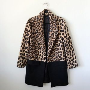 Zara Leopard Color Block Coat